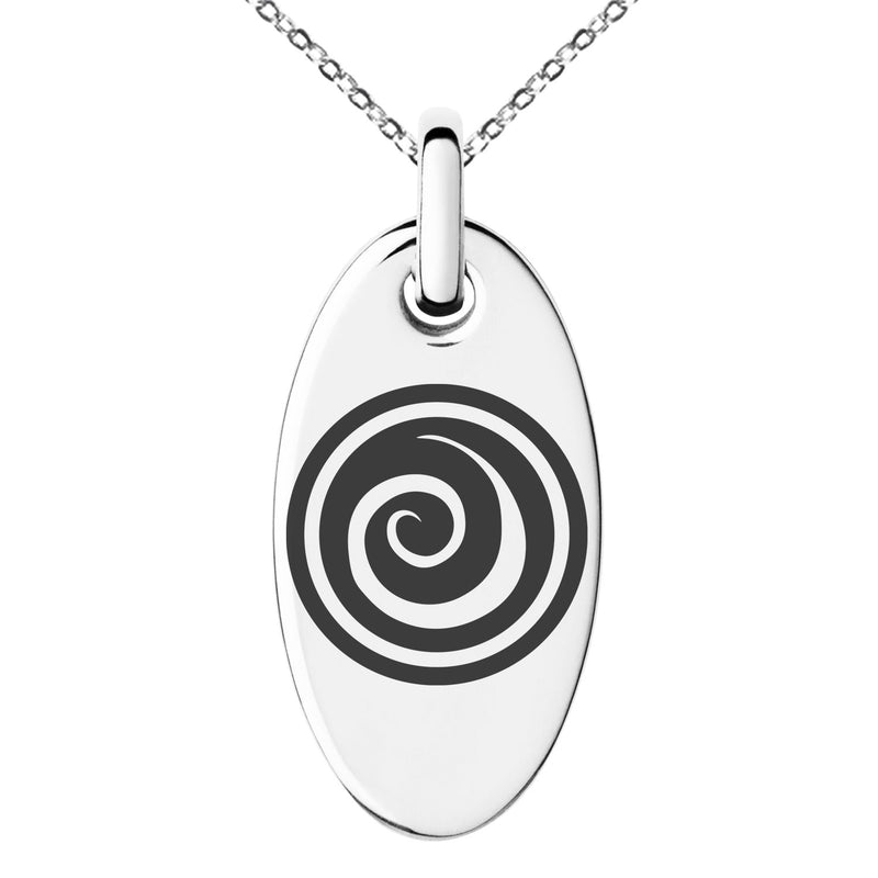 Stainless Steel Air Element Rune Engraved Small Oval Charm Pendant Necklace