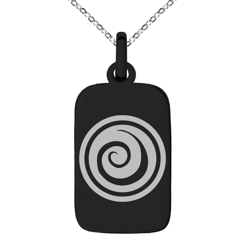 Stainless Steel Air Element Rune Engraved Small Rectangle Dog Tag Charm Pendant Necklace