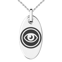Stainless Steel Telekinesis Element Rune Engraved Small Oval Charm Pendant Necklace - Tioneer