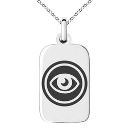 Stainless Steel Telekinesis Element Rune Engraved Small Rectangle Dog Tag Charm Pendant Necklace - Tioneer