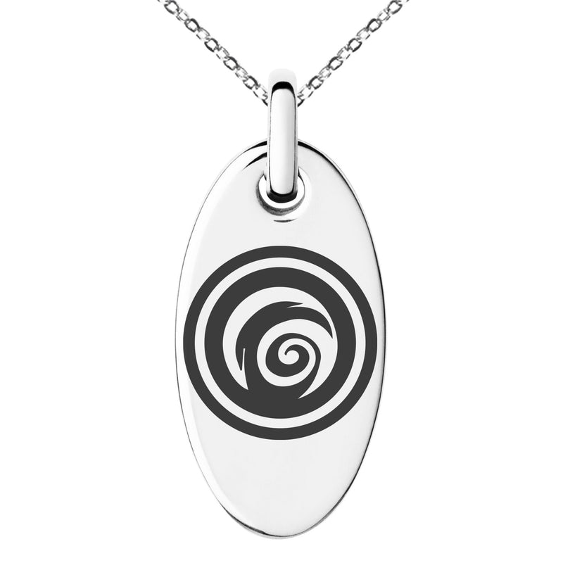Stainless Steel Darkness Element Rune Engraved Small Oval Charm Pendant Necklace