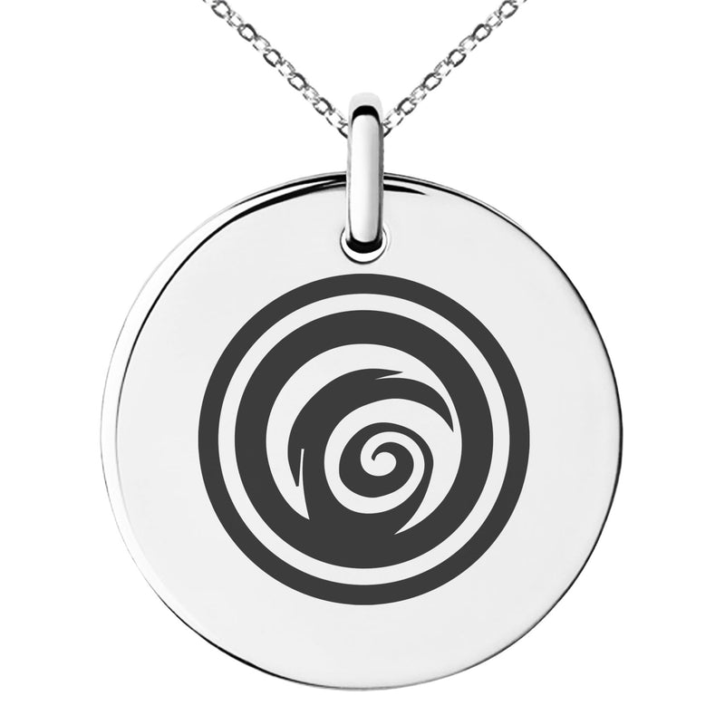 Stainless Steel Darkness Element Rune Engraved Small Medallion Circle Charm Pendant Necklace