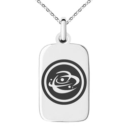 Stainless Steel Cosmic Element Rune Engraved Small Rectangle Dog Tag Charm Pendant Necklace