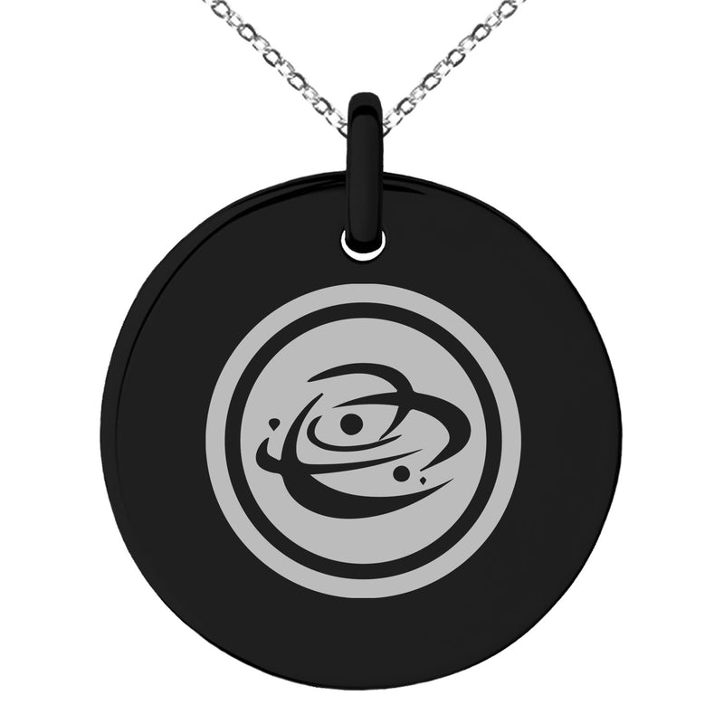 Stainless Steel Cosmic Element Rune Engraved Small Medallion Circle Charm Pendant Necklace
