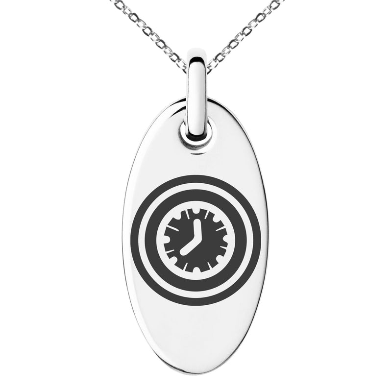 Stainless Steel Time Element Rune Engraved Small Oval Charm Pendant Necklace - Tioneer