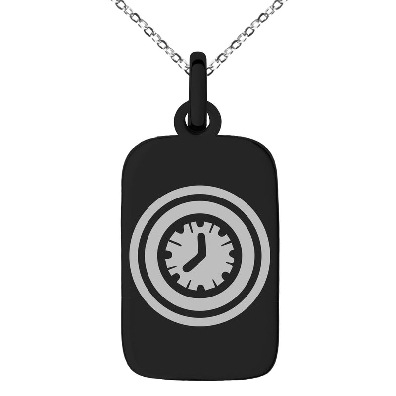 Stainless Steel Time Element Rune Engraved Small Rectangle Dog Tag Charm Pendant Necklace - Tioneer