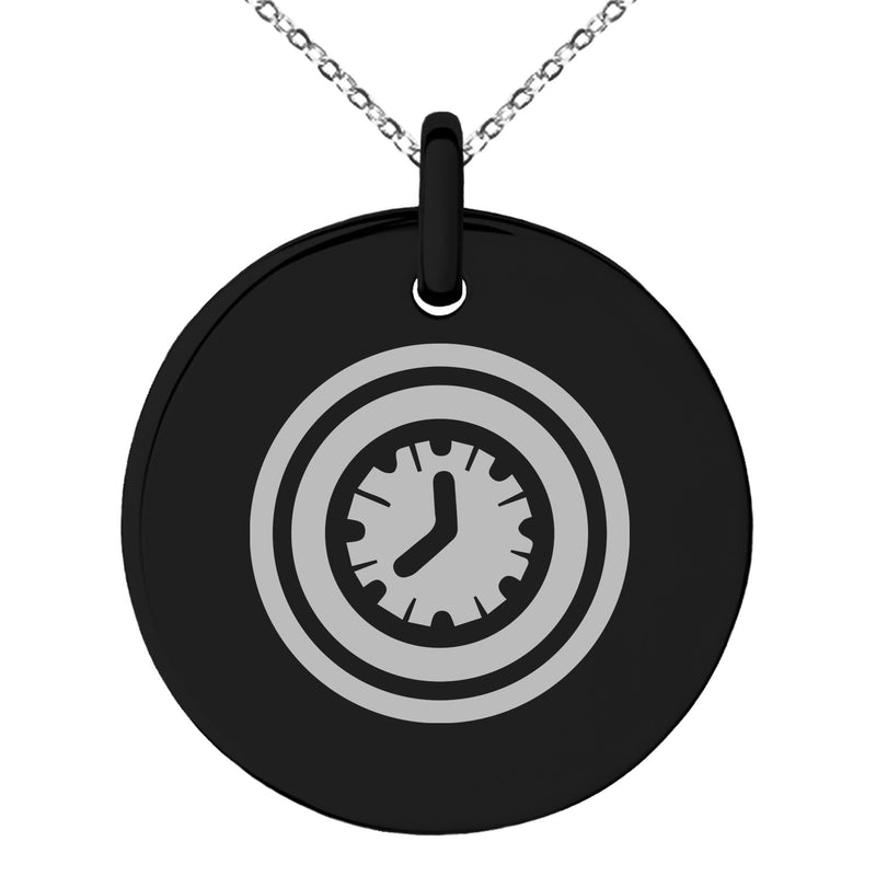 Stainless Steel Time Element Rune Engraved Small Medallion Circle Charm Pendant Necklace - Tioneer