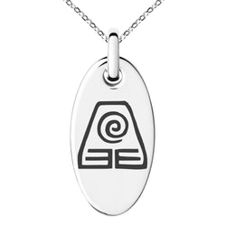 Stainless Steel Avatar Earth Element Engraved Small Oval Charm Pendant Necklace