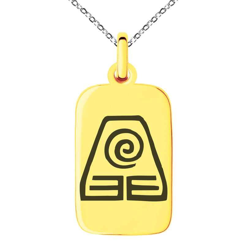 Stainless Steel Avatar Earth Element Engraved Small Rectangle Dog Tag Charm Pendant Necklace