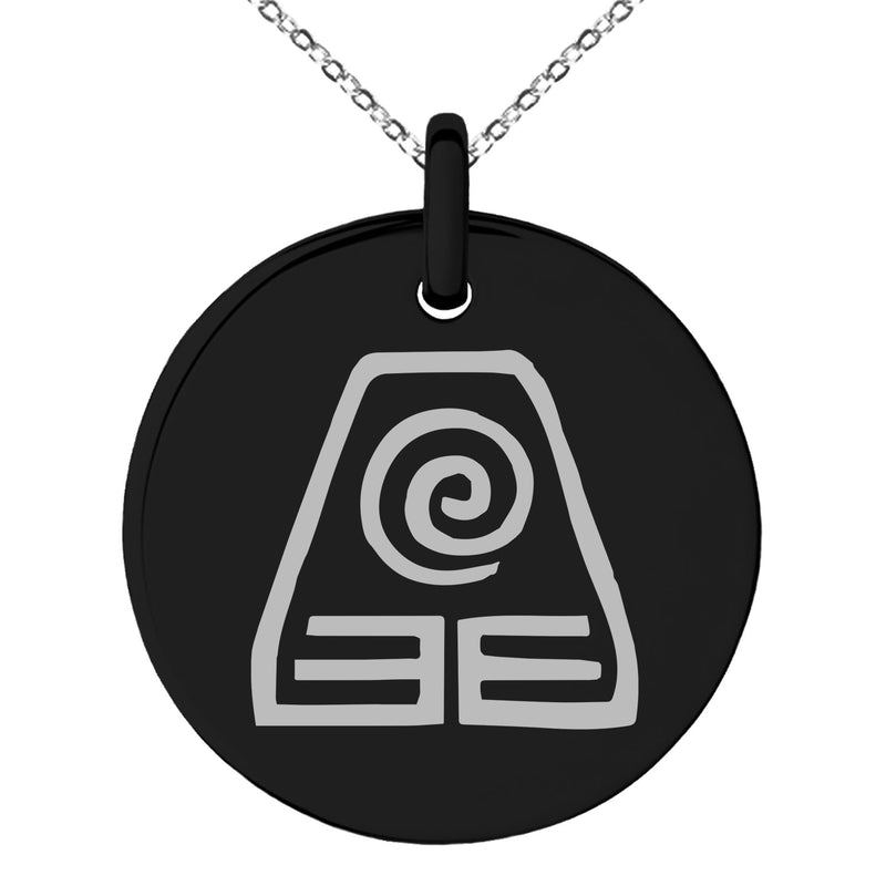 Stainless Steel Avatar Earth Element Engraved Small Medallion Circle Charm Pendant Necklace
