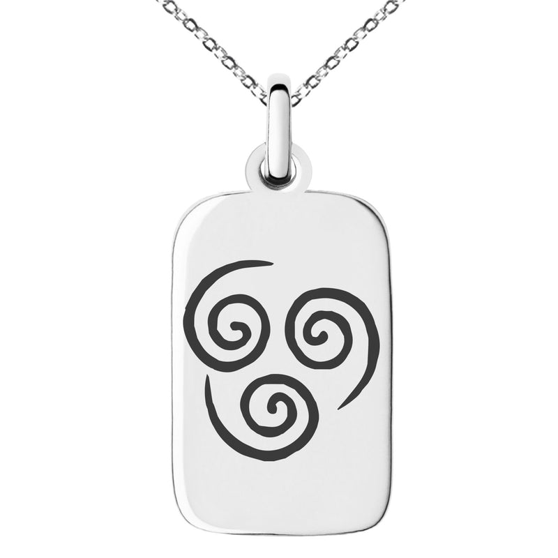 Stainless Steel Avatar Air Element Engraved Small Rectangle Dog Tag Charm Pendant Necklace