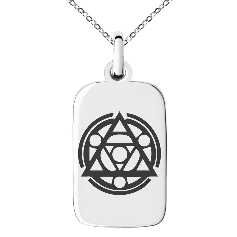 Stainless Steel Alteration Magic Rune Engraved Small Rectangle Dog Tag Charm Pendant Necklace