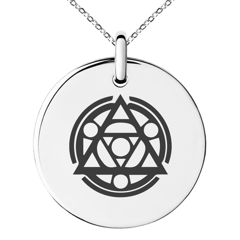 Stainless Steel Alteration Magic Rune Engraved Small Medallion Circle Charm Pendant Necklace