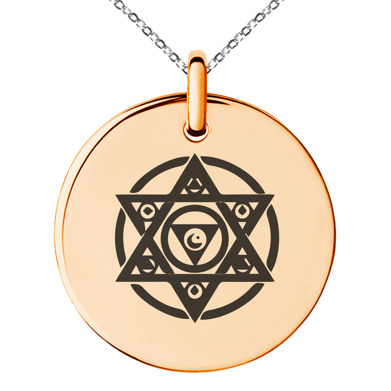 Stainless Steel Arcanism Magic Rune Engraved Small Medallion Circle Charm Pendant Necklace