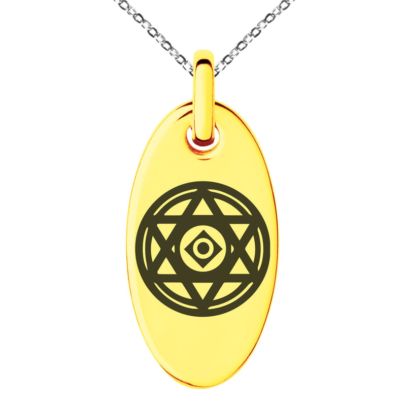 Stainless Steel Conjuration Magic Rune Engraved Small Oval Charm Pendant Necklace