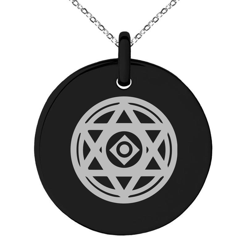 Stainless Steel Conjuration Magic Rune Engraved Small Medallion Circle Charm Pendant Necklace