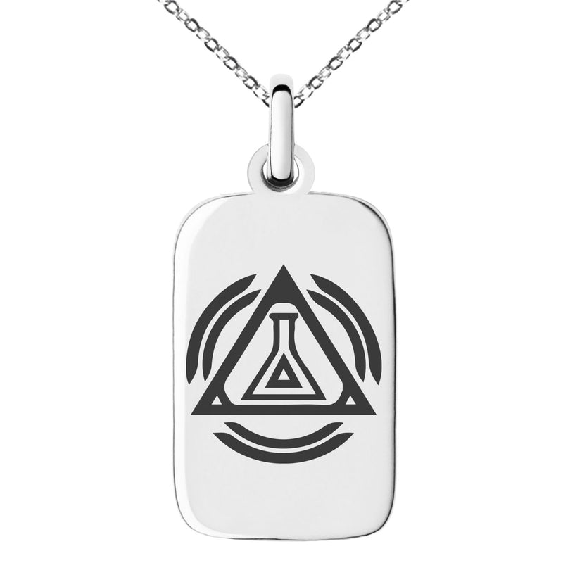 Stainless Steel Alchemy Magic Rune Engraved Small Rectangle Dog Tag Charm Pendant Necklace