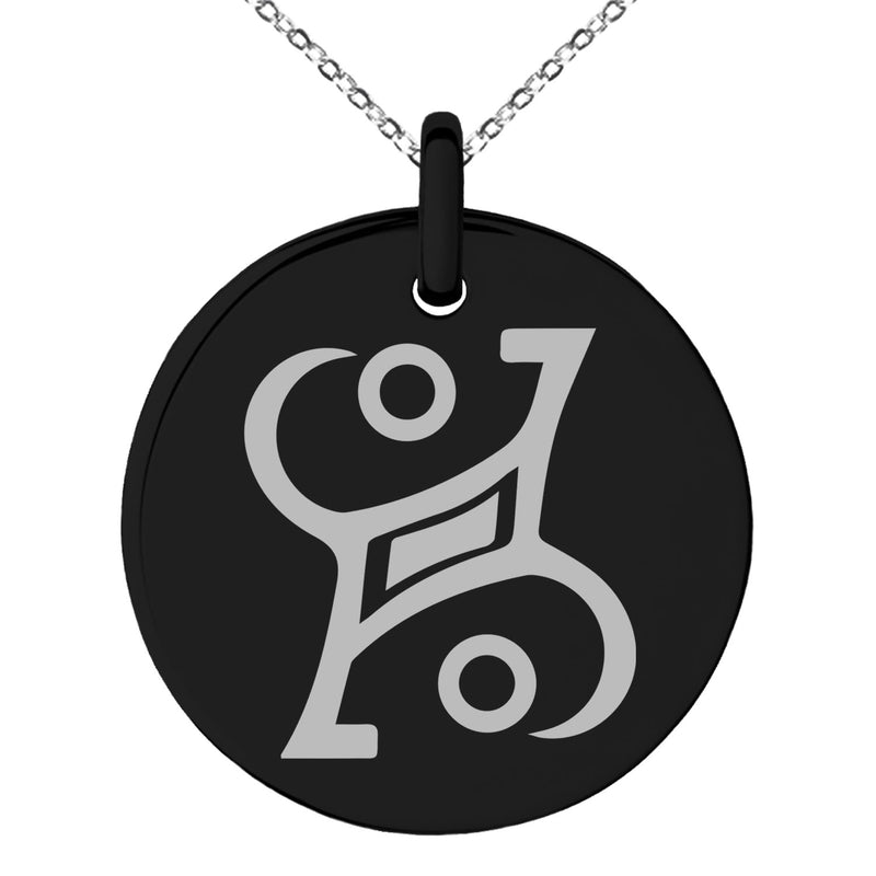 Stainless Steel Enchanting Magic Rune Engraved Small Medallion Circle Charm Pendant Necklace