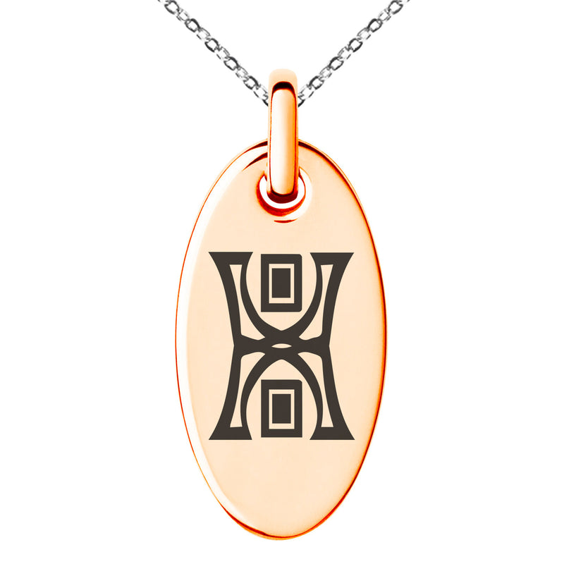 Stainless Steel Runology Magic Rune Engraved Small Oval Charm Pendant Necklace - Tioneer