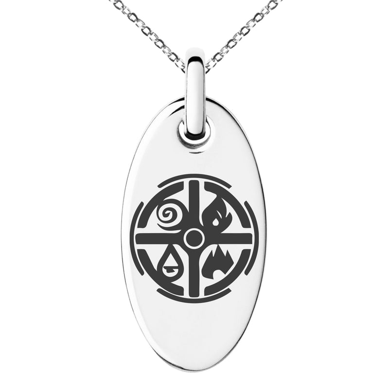 Stainless Steel Elementalism Magic Rune Engraved Small Oval Charm Pendant Necklace