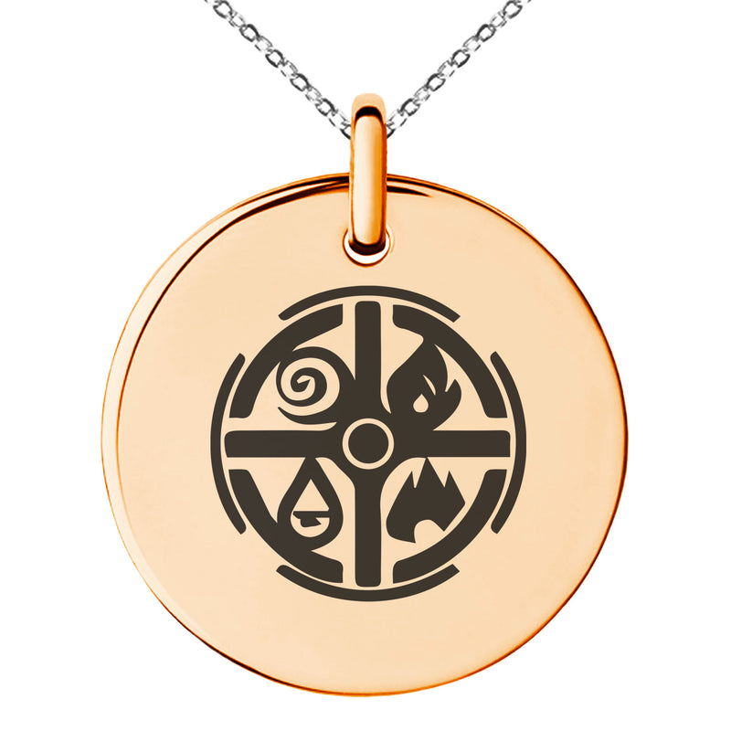 Stainless Steel Elementalism Magic Rune Engraved Small Medallion Circle Charm Pendant Necklace