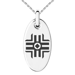 Stainless Steel Holy Magic Rune Engraved Small Oval Charm Pendant Necklace