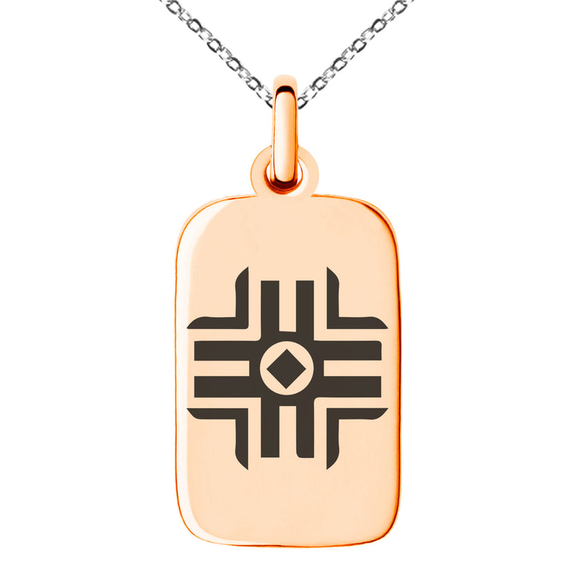 Stainless Steel Holy Magic Rune Engraved Small Rectangle Dog Tag Charm Pendant Necklace