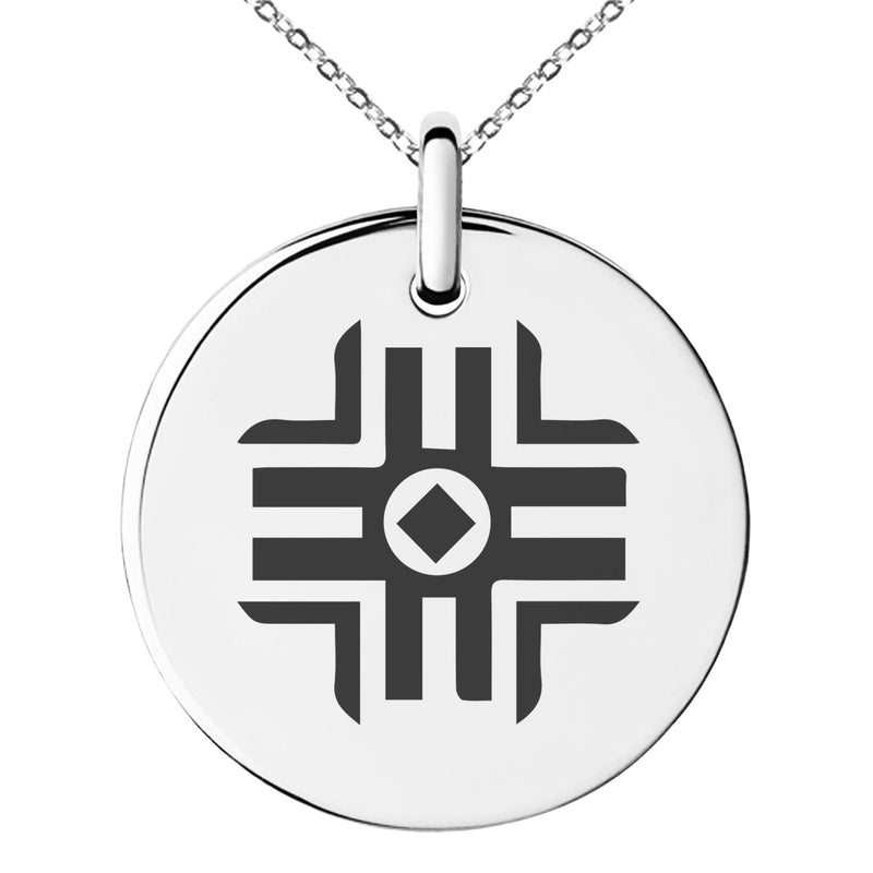 Stainless Steel Holy Magic Rune Engraved Small Medallion Circle Charm Pendant Necklace