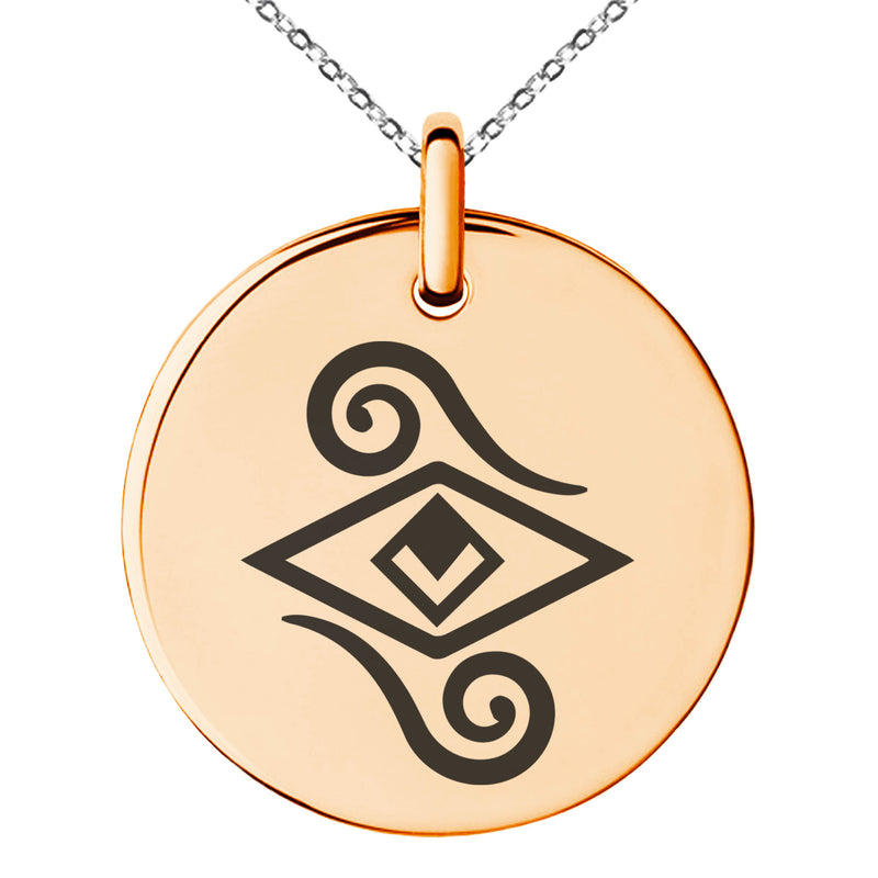 Stainless Steel Illusionism Magic Rune Engraved Small Medallion Circle Charm Pendant Necklace