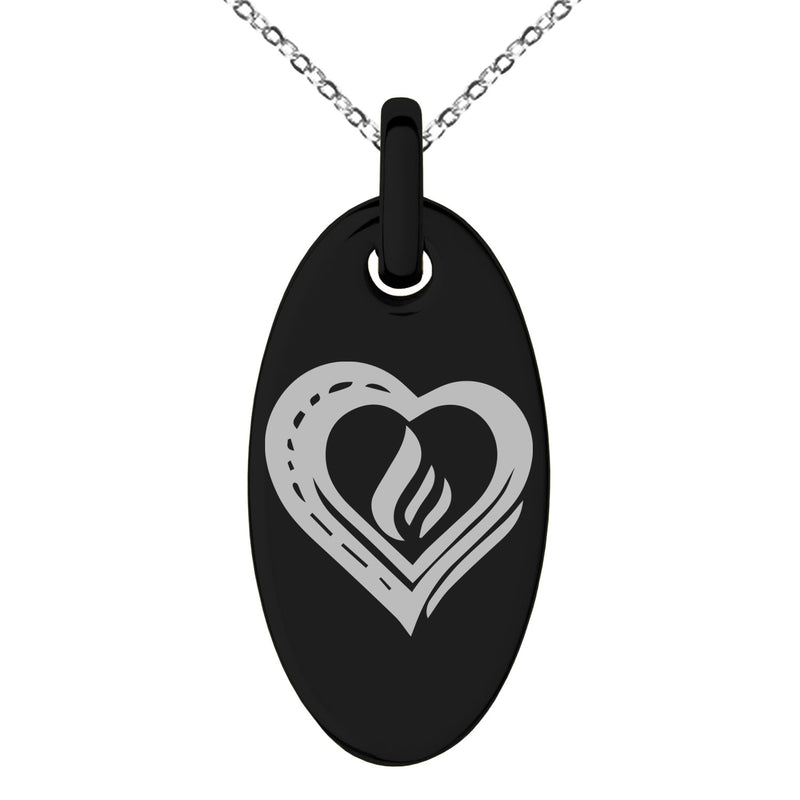 Stainless Steel Life Magic Rune Engraved Small Oval Charm Pendant Necklace - Tioneer