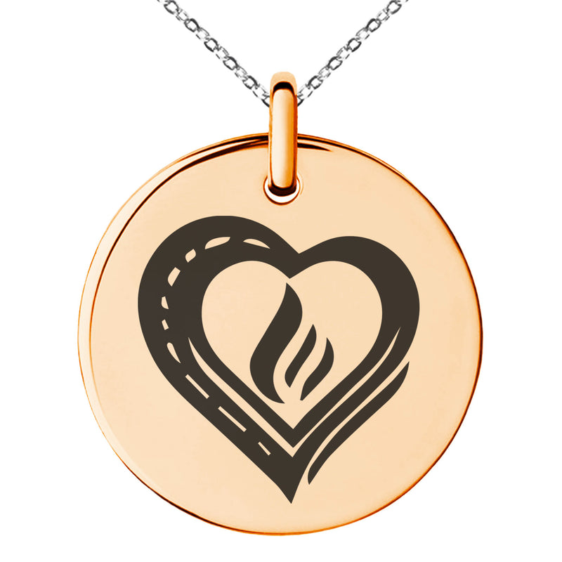 Stainless Steel Life Magic Rune Engraved Small Medallion Circle Charm Pendant Necklace - Tioneer
