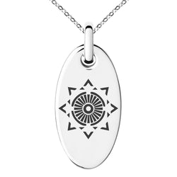 Stainless Steel Light Magic Rune Engraved Small Oval Charm Pendant Necklace - Tioneer