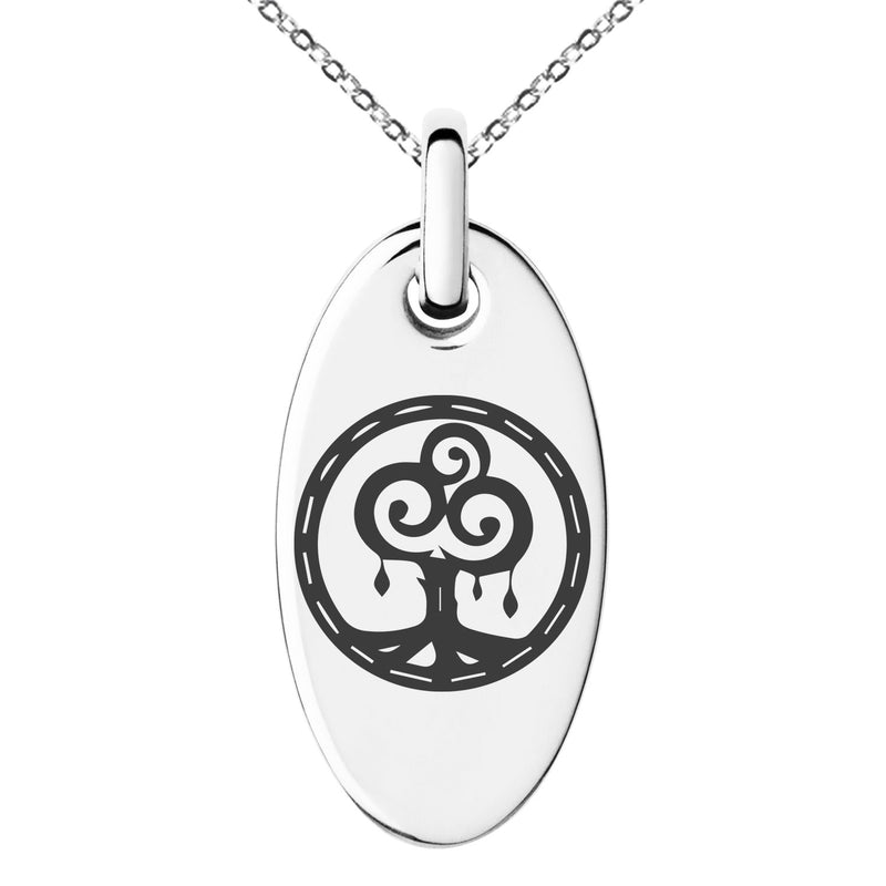 Stainless Steel Nature Magic Rune Engraved Small Oval Charm Pendant Necklace - Tioneer