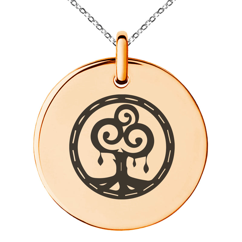 Stainless Steel Nature Magic Rune Engraved Small Medallion Circle Charm Pendant Necklace - Tioneer