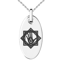 Stainless Steel Blood Magic Rune Engraved Small Oval Charm Pendant Necklace