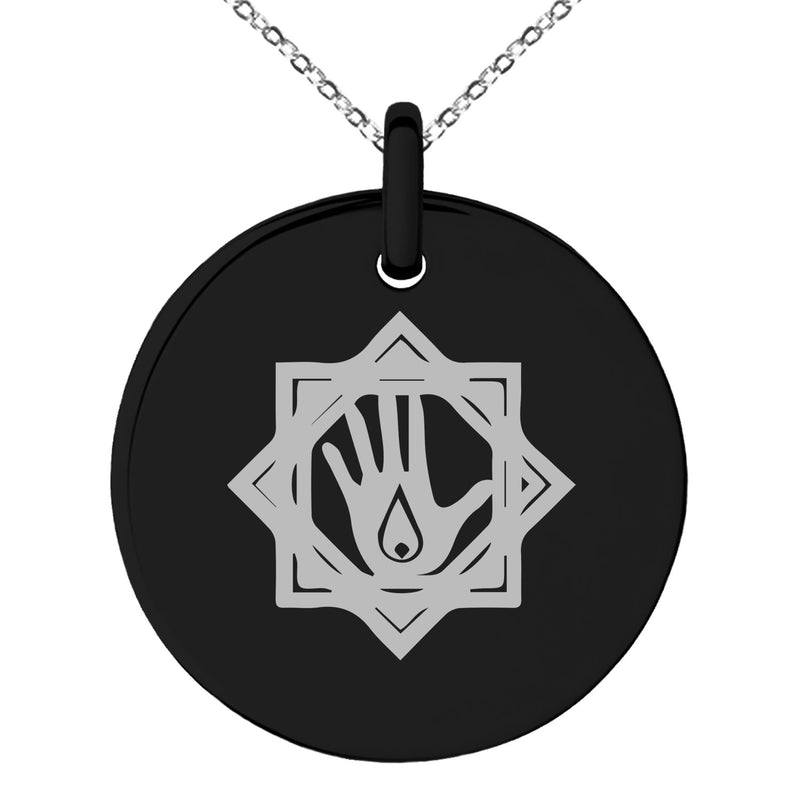 Stainless Steel Blood Magic Rune Engraved Small Medallion Circle Charm Pendant Necklace