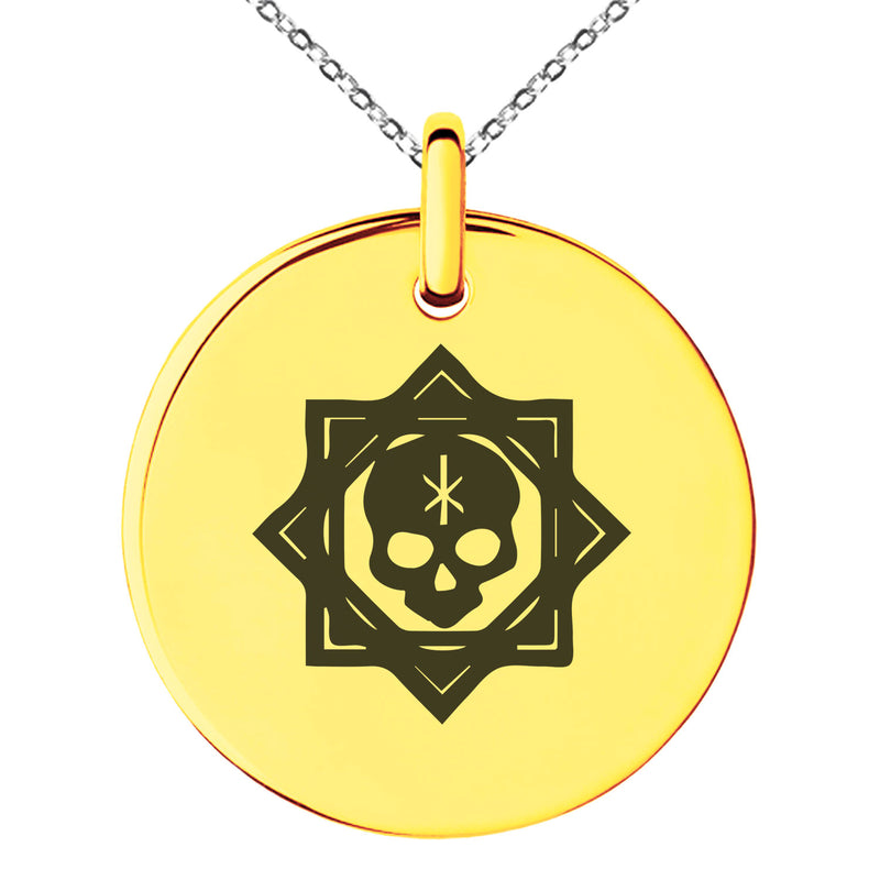 Stainless Steel Necromancy Magic Rune Engraved Small Medallion Circle Charm Pendant Necklace - Tioneer