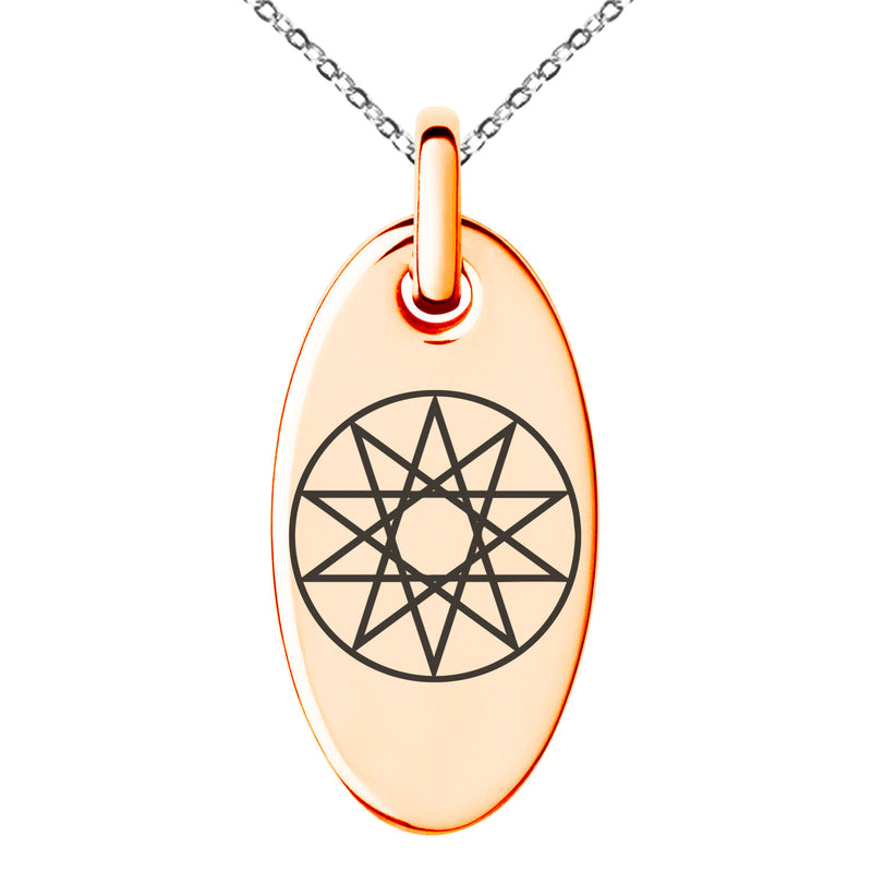 Stainless Steel Octagram Star of Wisdom Engraved Small Oval Charm Pendant Necklace - Tioneer