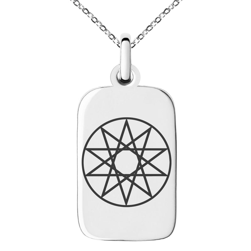 Stainless Steel Octagram Star of Wisdom Engraved Small Rectangle Dog Tag Charm Pendant Necklace - Tioneer