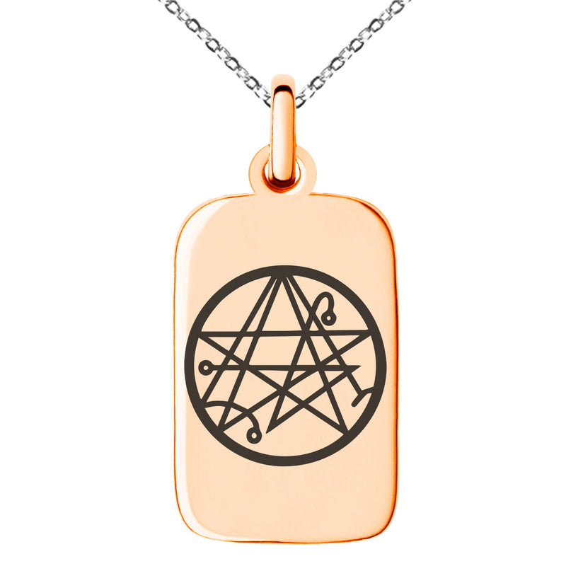 Stainless Steel Necronomicon Talisman Rune Engraved Small Rectangle Dog Tag Charm Pendant Necklace - Tioneer