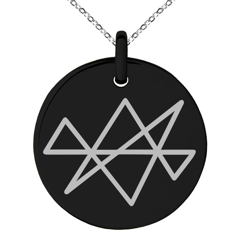 Stainless Steel Reiki Midas Star Prosperity Engraved Small Medallion Circle Charm Pendant Necklace - Tioneer