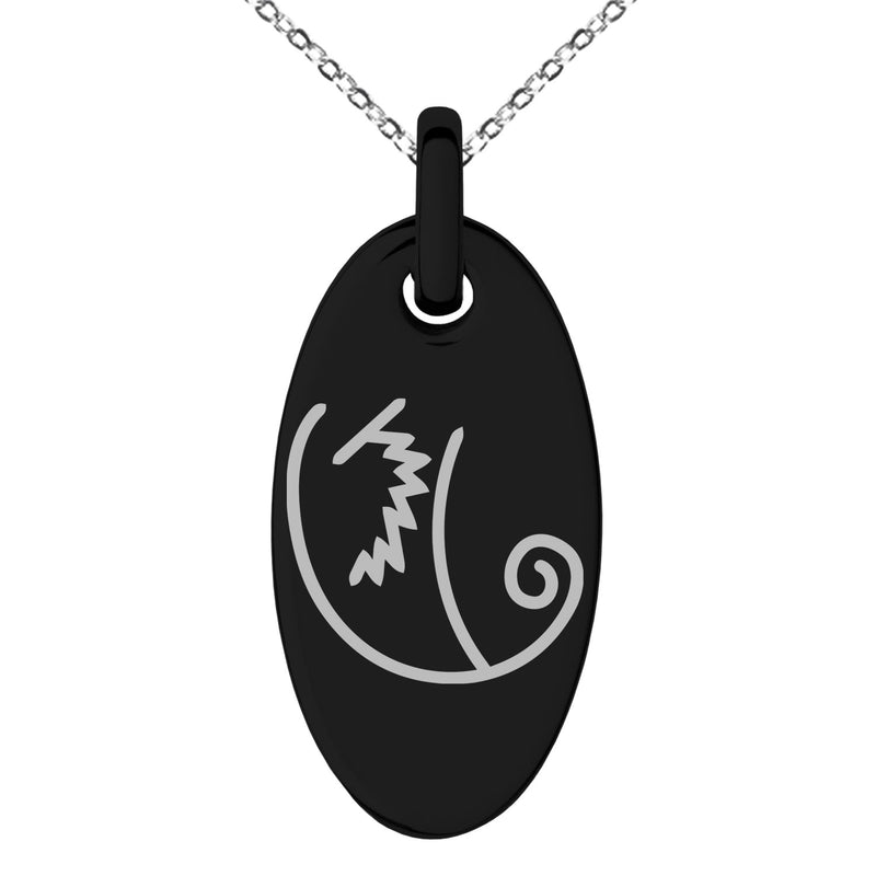 Stainless Steel Reiki Motor Zanon Wellness Engraved Small Oval Charm Pendant Necklace - Tioneer