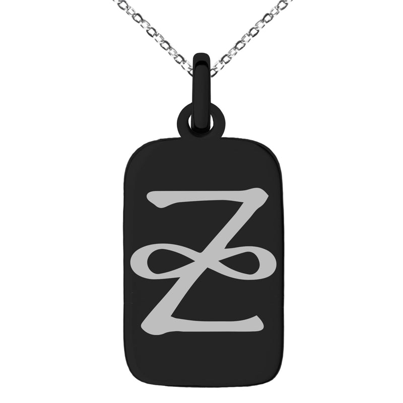 Stainless Steel Reiki Zonar Healing Engraved Small Rectangle Dog Tag Charm Pendant Necklace - Tioneer