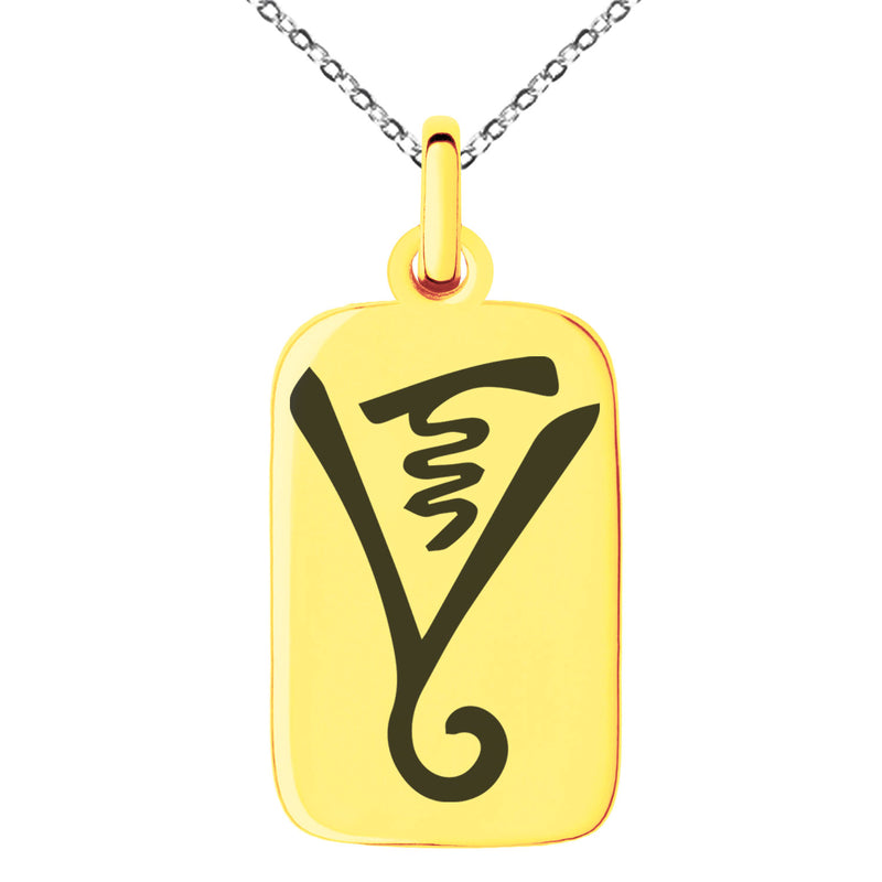 Stainless Steel Reiki Dumo Tibetan Master Engraved Small Rectangle Dog Tag Charm Pendant Necklace - Tioneer