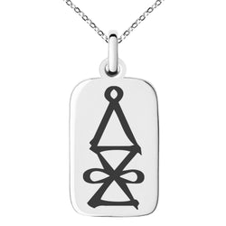 Stainless Steel Reiki Halu Higher Dimensions Engraved Small Rectangle Dog Tag Charm Pendant Necklace - Tioneer