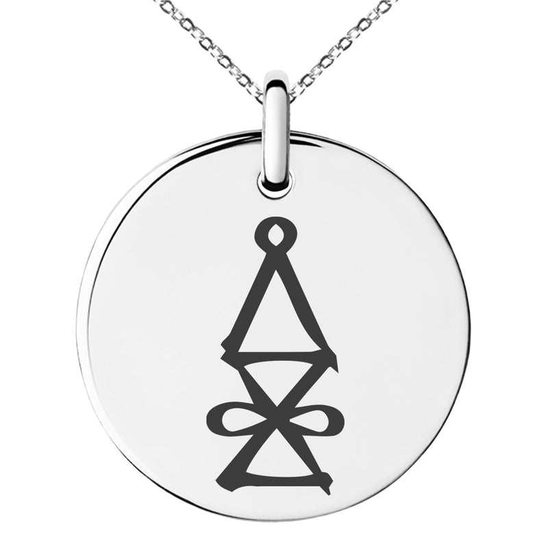 Stainless Steel Reiki Halu Higher Dimensions Engraved Small Medallion Circle Charm Pendant Necklace - Tioneer