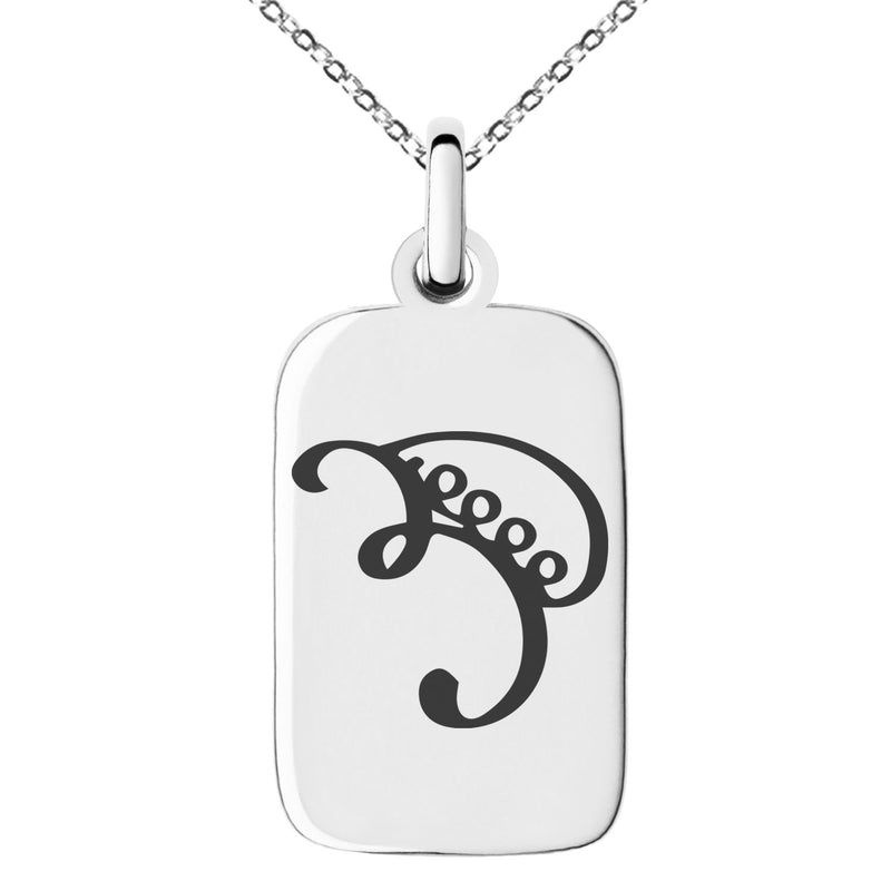 Stainless Steel Reiki Iava Persistence Engraved Small Rectangle Dog Tag Charm Pendant Necklace - Tioneer