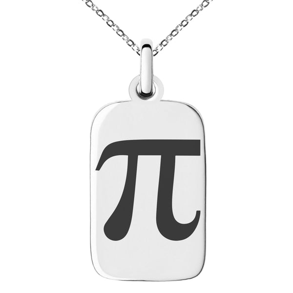 Stainless Steel Pi Mathematical Engraved Small Rectangle Dog Tag Charm Pendant Necklace - Tioneer