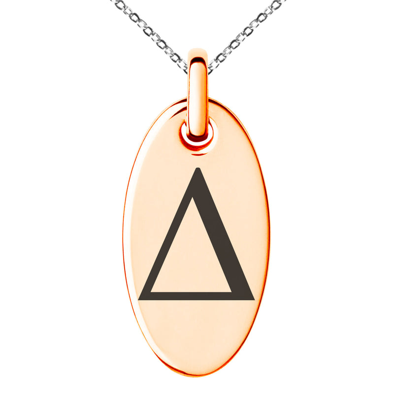 Stainless Steel Delta Mathematical Engraved Small Oval Charm Pendant Necklace