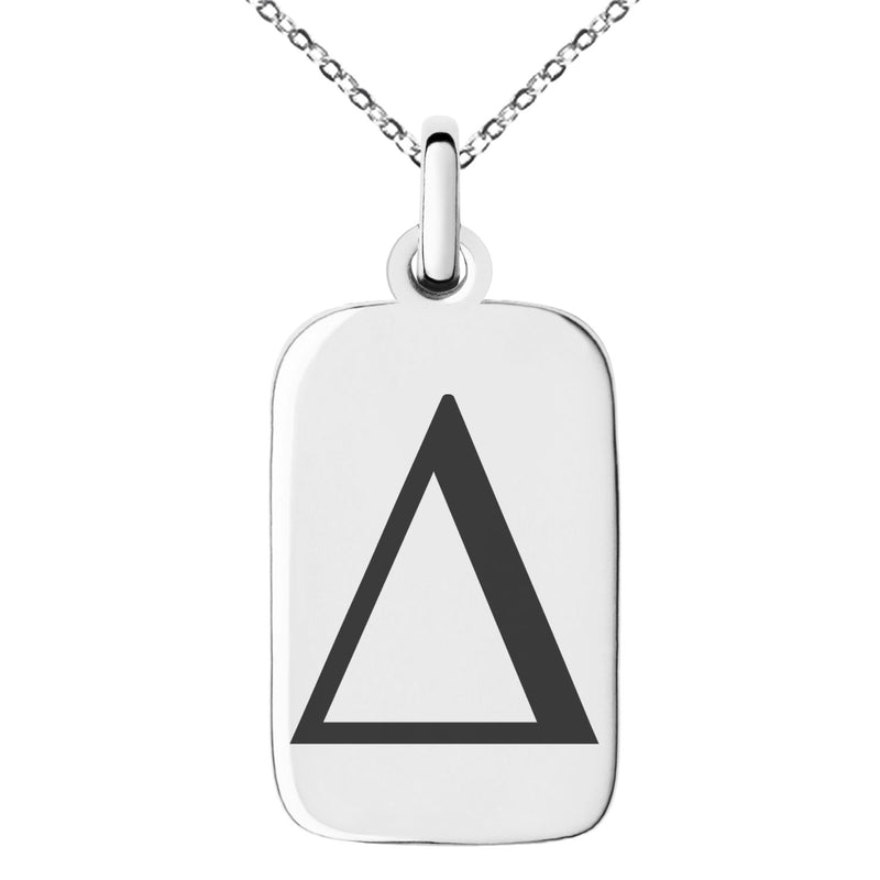 Stainless Steel Delta Mathematical Engraved Small Rectangle Dog Tag Charm Pendant Necklace